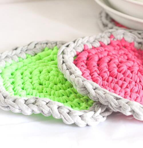 DIY Crochet Neon Hot Pads