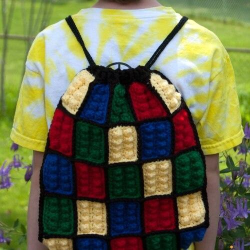 Lego Inspired Crochet Backpack