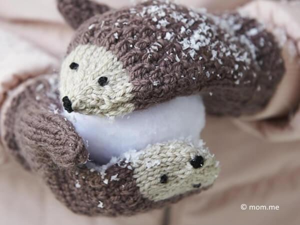 DIY Knit Hedgehog Mittens